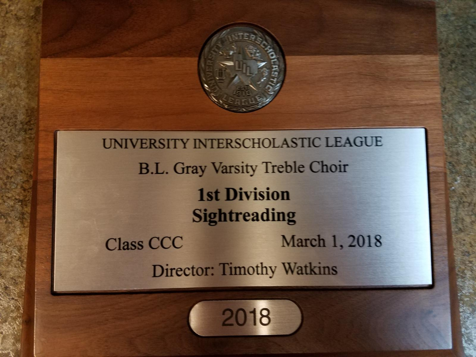 Plaque for 2018